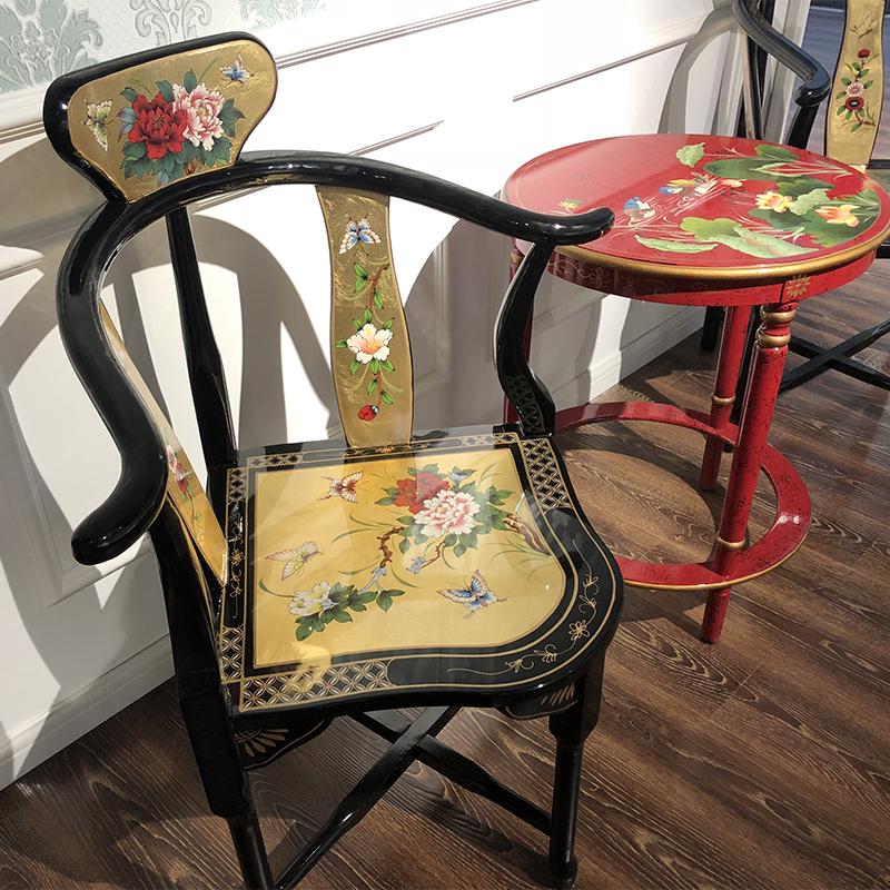 彩绘贴金箔皇宫椅太后椅组合