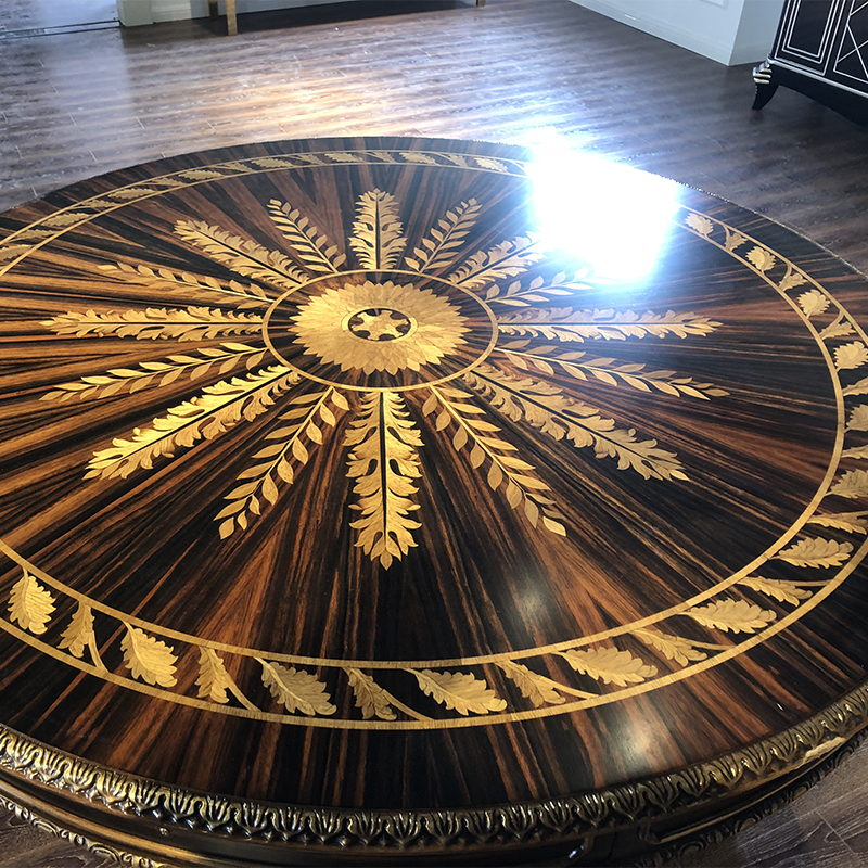 天津欧式木皮拼花大圆桌